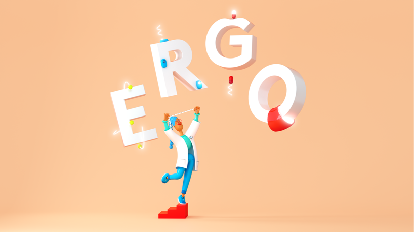 Animation of person surrounded by the word ergo