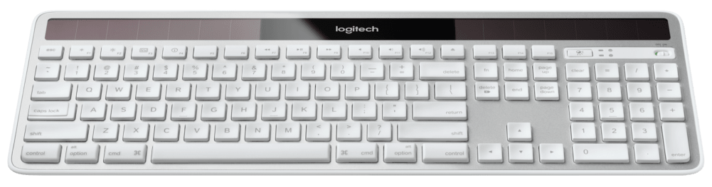 Slim, full-sized keyboard powered by light