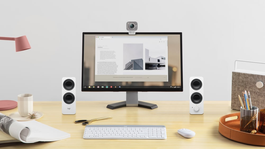Workstation setup with stereo speakers