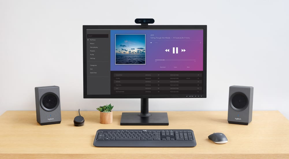 computer speakers on a desktop