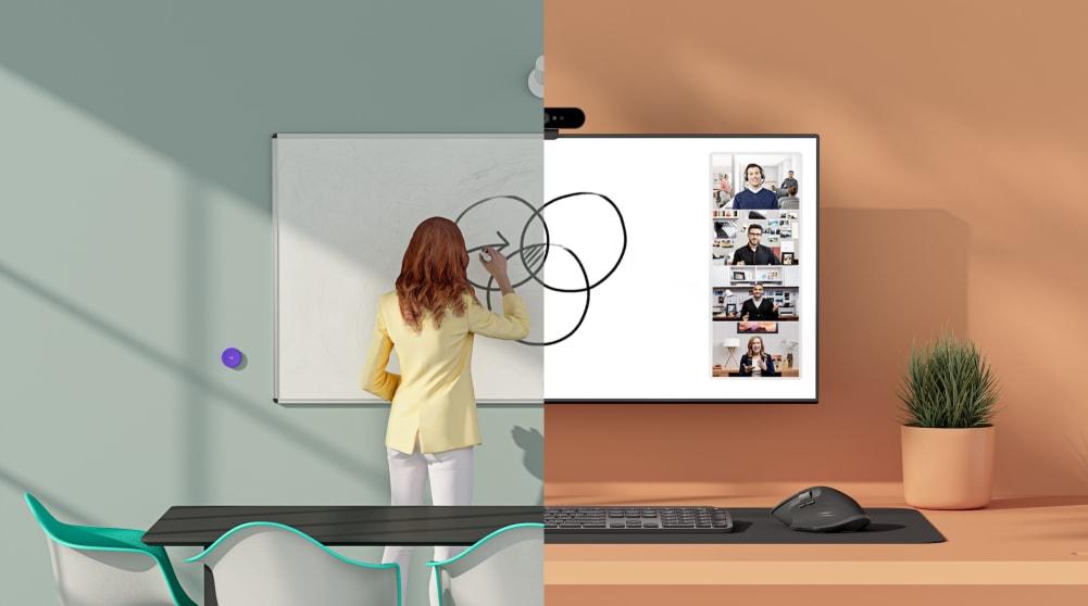 Image d'un tableau blanc classique et d'un tableau blanc virtuel en regard