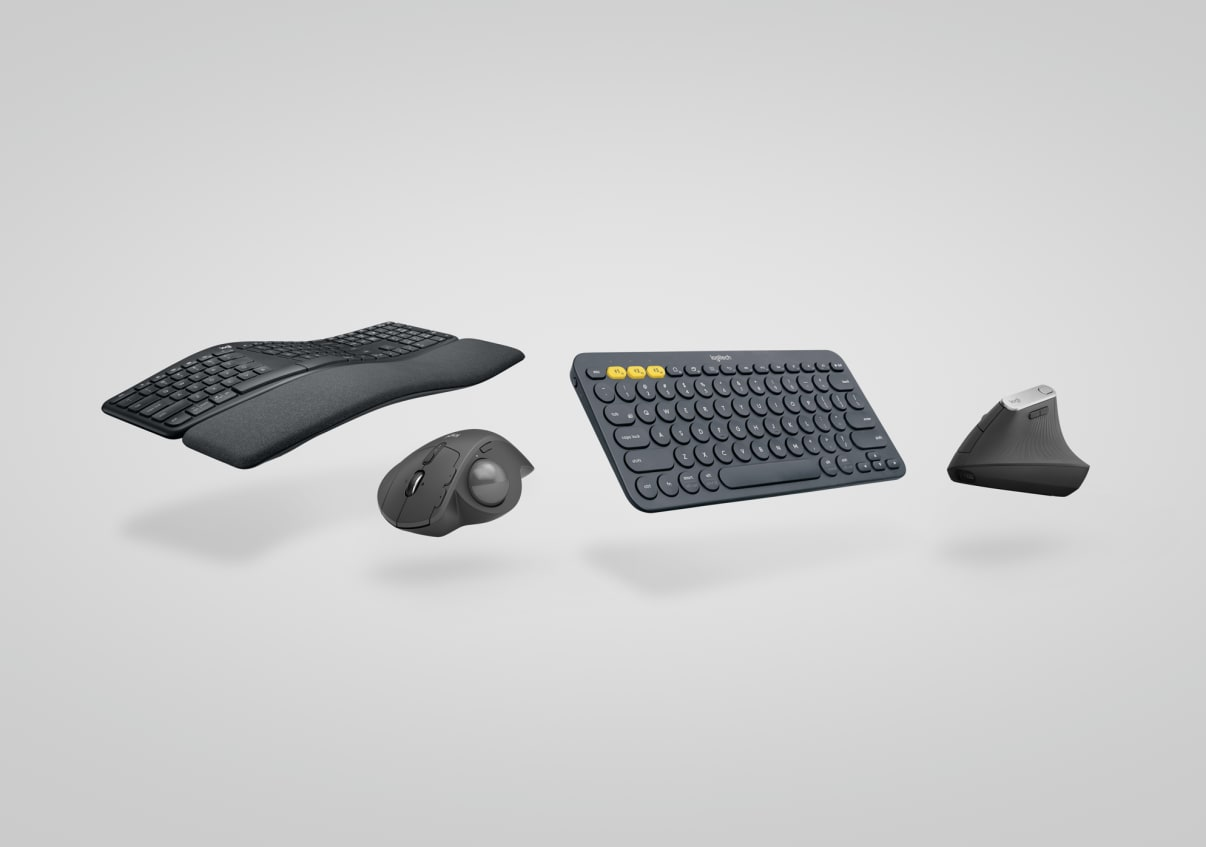Ergonomic keyboard, mouse, headset, webcam collection