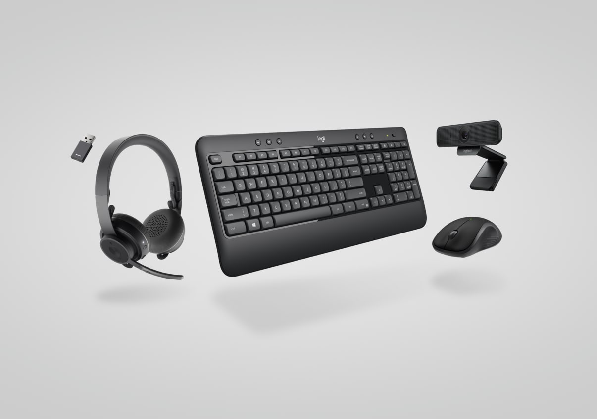 Essential keyboard, mouse, headset, webcam collection