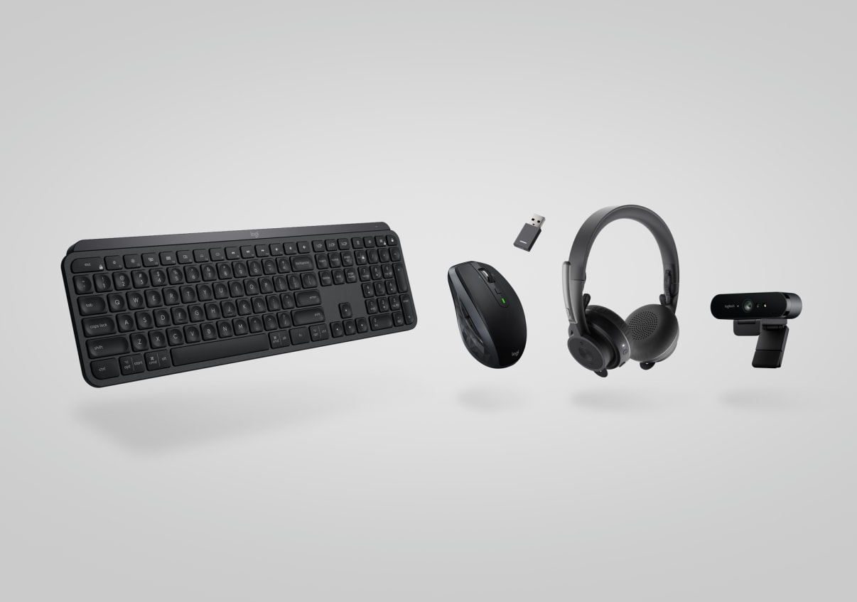 precision keyboard, mouse, headset, webcam collection