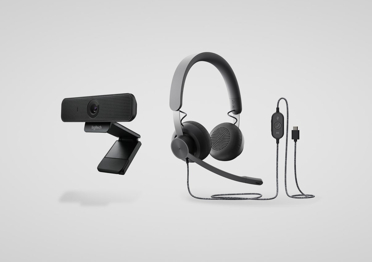 Personal collaboration headset and webcam kit
