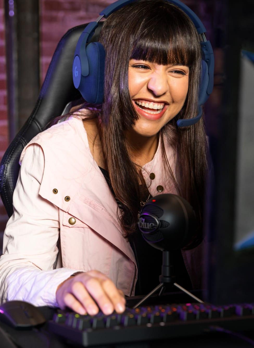 Girl using Gaming headset