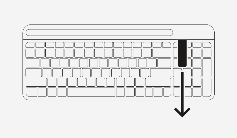 Keyboard setup step 1 - remove pull tab