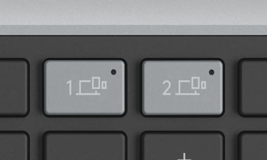 Channel 1 and channel 2 easy switch keys are gray in color