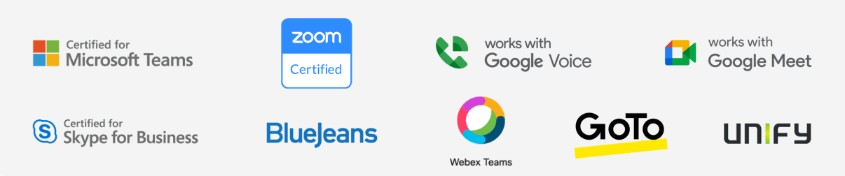 logoer for microsoft teams, zoom, google voice, goto, skype, cisco, bluejeans og unify