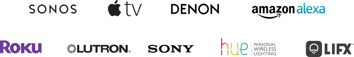 logos for sonus, appletv, denon, alexa, roku, lutron, sony, hue and lifx