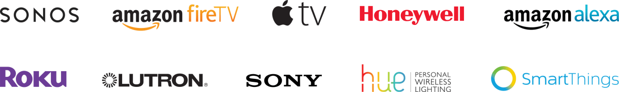 logos of sonos, amazon fire tv, apple tv, honeywell, roku, lutron, sony, hue and smart things