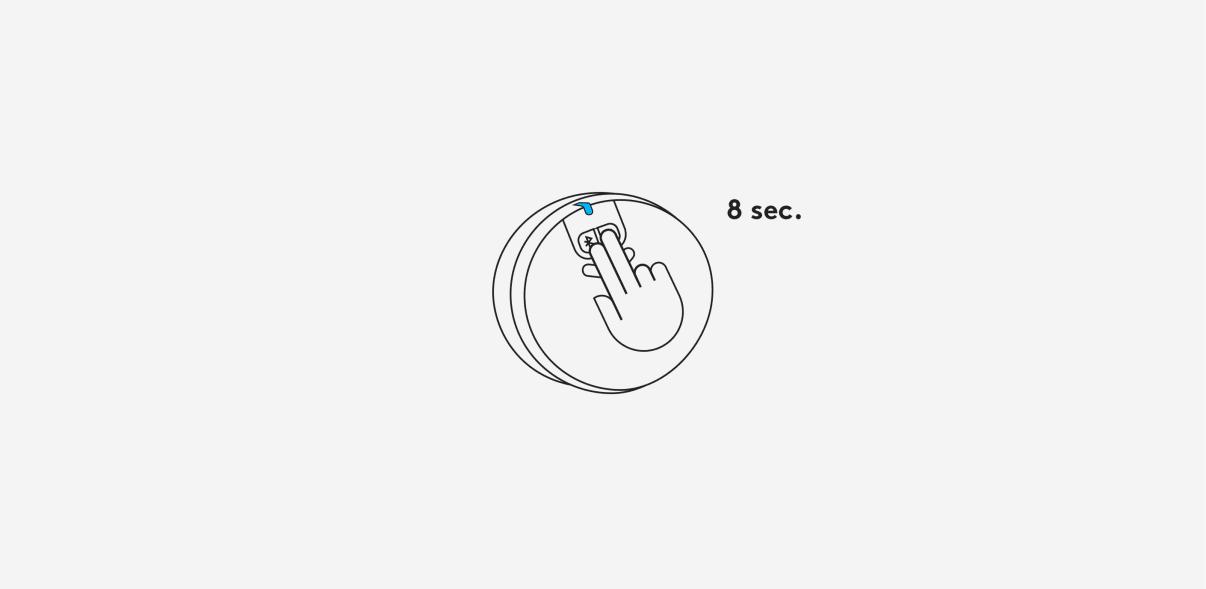 Um den Lautsprecher auf die Werkseinstellungen zurückzusetzen, halten Sie beide Tasten für 8 Sekunden gedrückt.