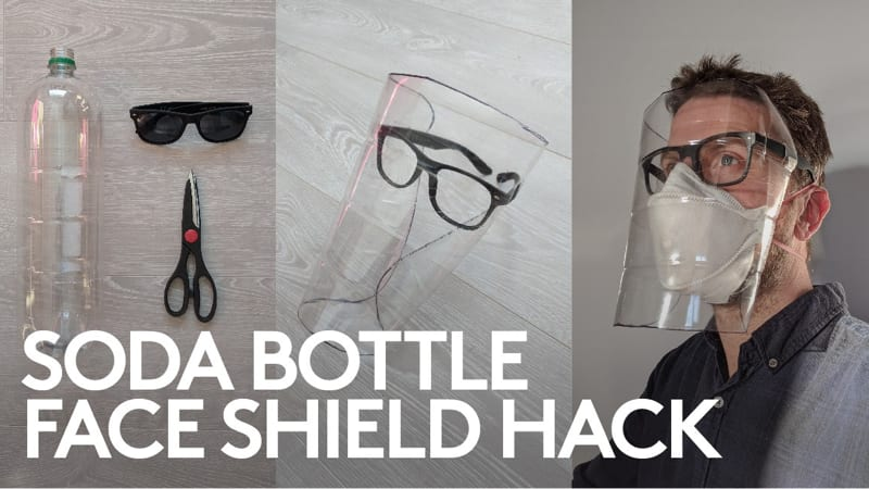 Face shield made from soda bottle