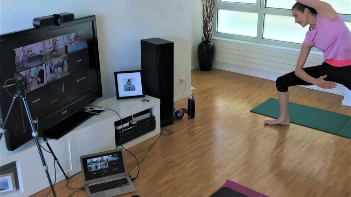 Fitness class via video conferencing