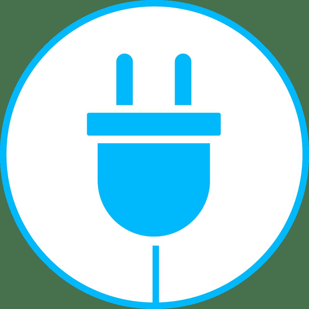 iconos azules en mapa