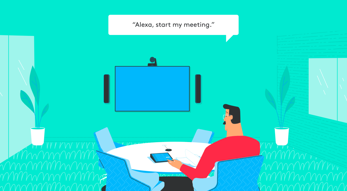 illustration of man joining meeting using alexa voice commands