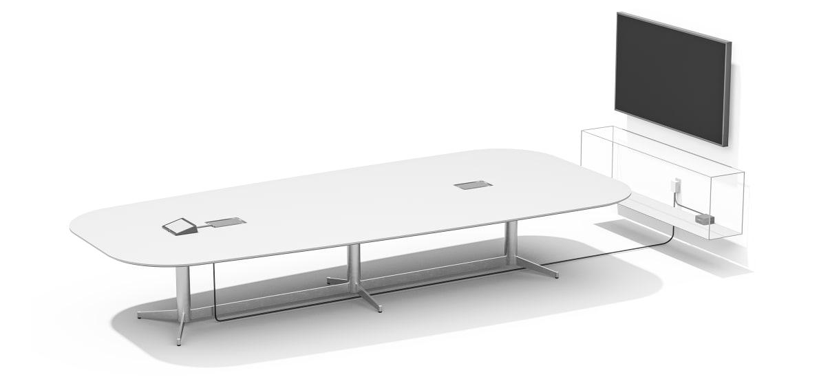 会議室パソコンの近くに電源があるCat5eキットのセットアップ