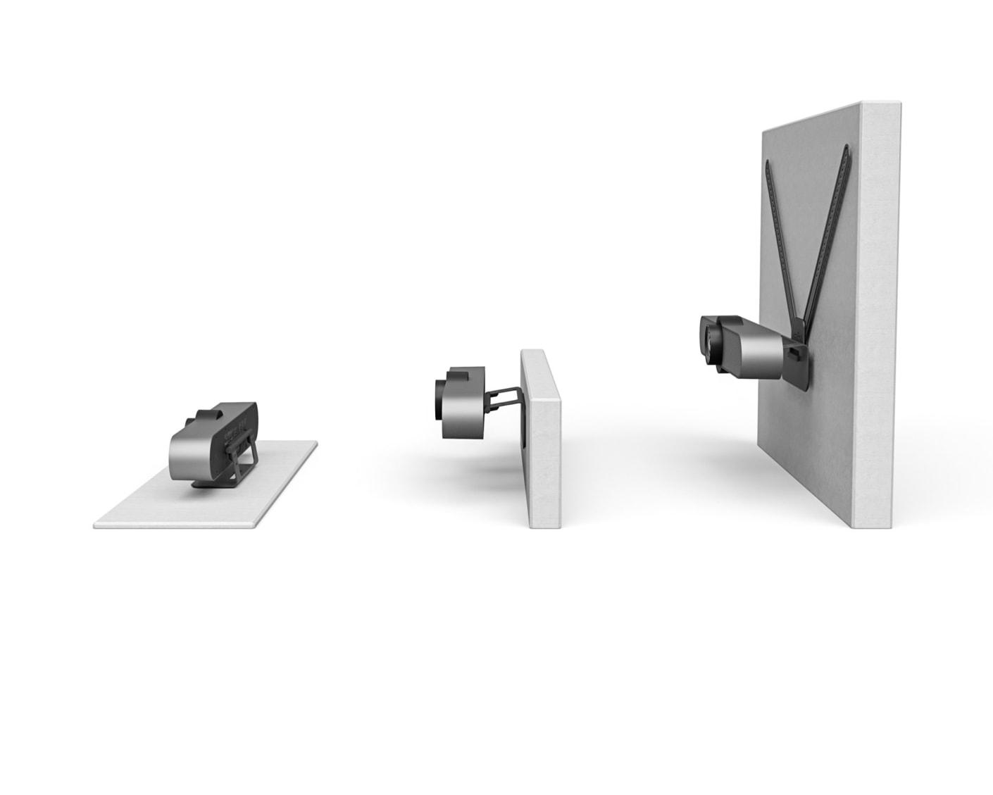 Widok możliwości montażu MeetUp: z boku, na podstawce na stół, montaż na ścianie i montaż na telewizorze