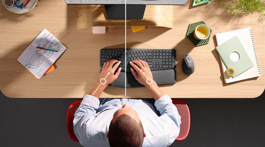 Posizione di schermo, tastiera e mouse per un assetto ergonomico