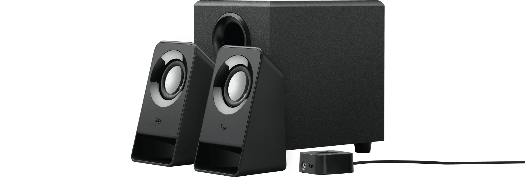 compact stereo speaker system with control pod