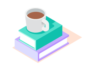 Coffee on books graphic