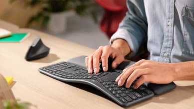 Typing on ergonomic keyboard