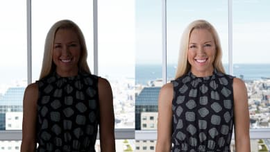 Side by side Image of a person with auto light correction on and off