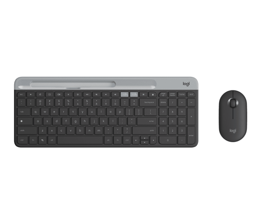 | Ultra-slim keyboard with Chrome OS layout + silent portable mouse