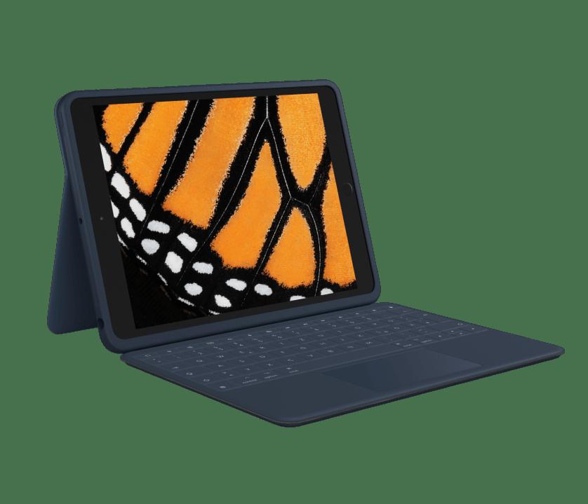 | Suojaava, ohjausalustalla varustettu näppäimistökotelo iPadille (7. ja 8. sukupolvi)