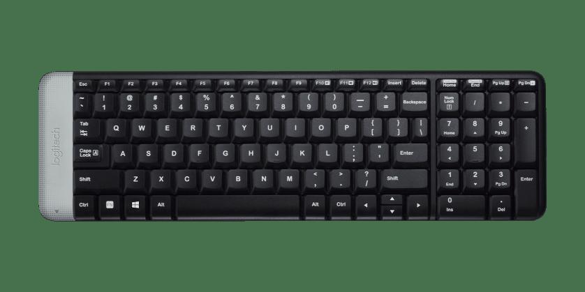   Space-saving wireless keyboard