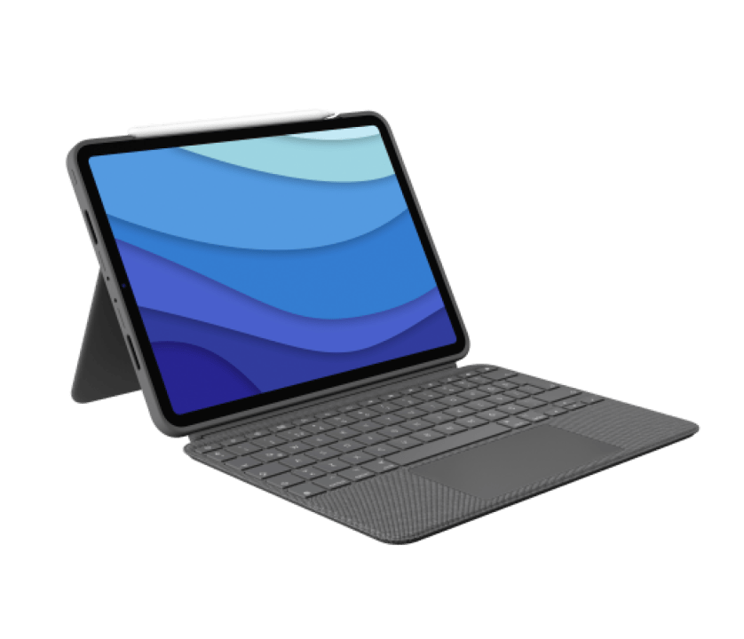 | iPad Pro 12,9 inç (5. nesil) ve iPad Pro 11 inç (1., 2. ve 3. nesil) için izleme paneline sahip arkadan aydınlatmalı klavyeli kılıf