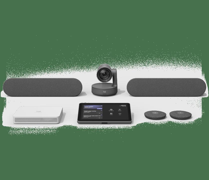 | Esimääritetyt videoneuvottelujärjestelmät pieniin, keskisuuriin ja suuriin tiloihin ja sisäänrakennettu Microsoft Teams Rooms-tuki