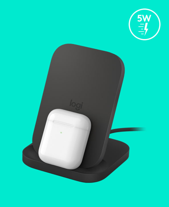 AirPods Charging on Logitech Powered Stand