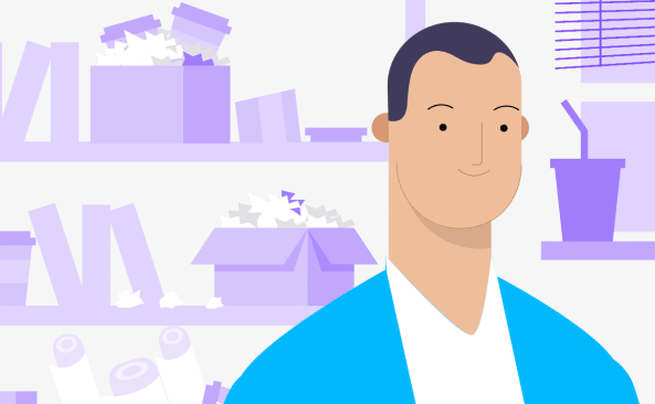 Illustration of a person with a background of shelves