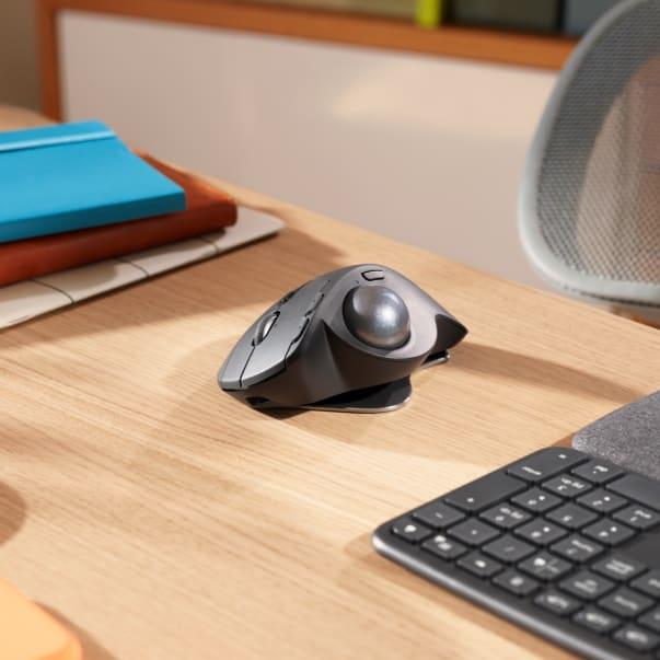 MX Ergo Trackball Mouse on a desk