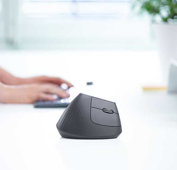 MX Vertical Mouse on a desk