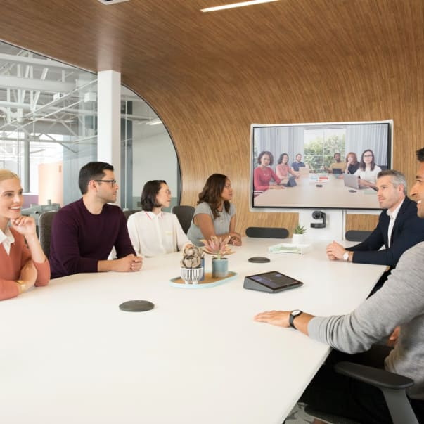 Video conferencing meeting with 6 people