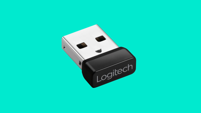 Tiny USB receiver pre-paired with your keyboard and mouse