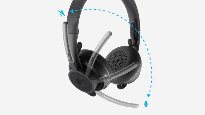 zone wireless headset with adjustable microphone