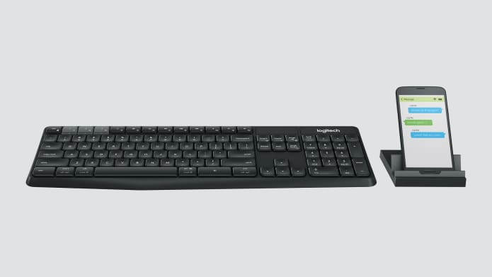 Keyboard with separate smartphone stand