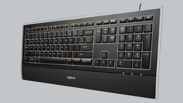 Keyboard with orange keys and transparent strip