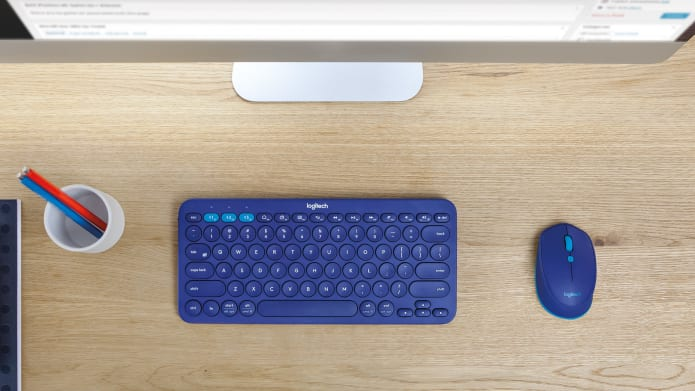 Blue Color K380 Keyboard with M350 on a table