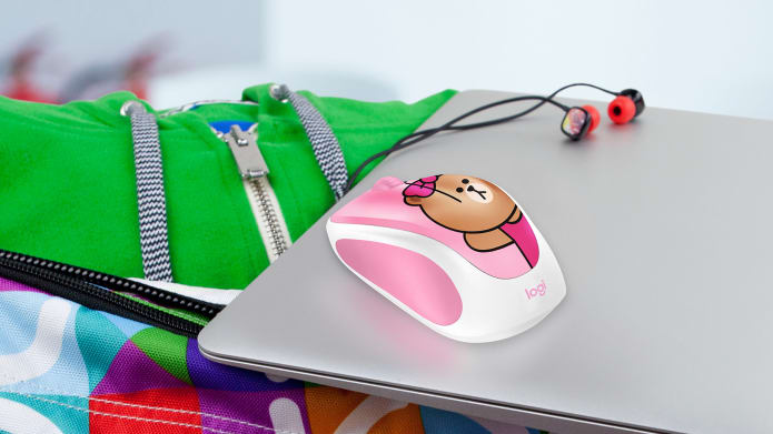 Line Wireless Mouse on top od Laptoop
