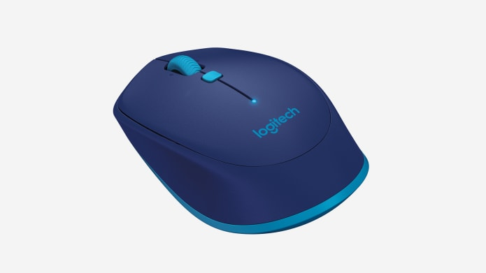 blue computer mouse with rubber grip