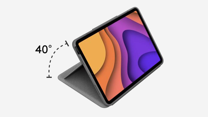 Folio Touch mostrando la flexibilidad del ángulo de 40 grados