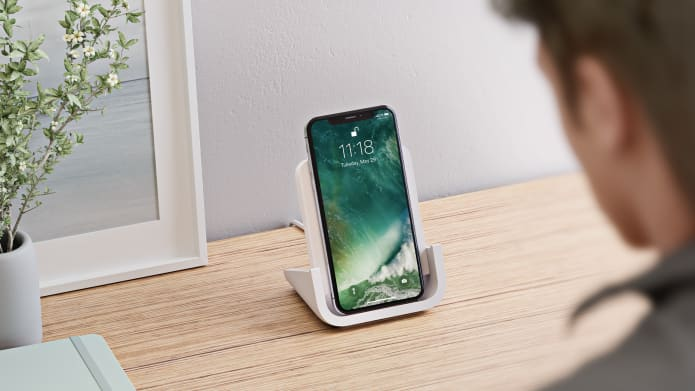 iPhone stand shown at 65 degree for Face ID