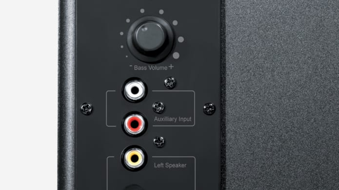 Close up shot of RCA inputs and volume control on subwoofer