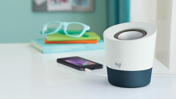 portable speaker connected to smartphone