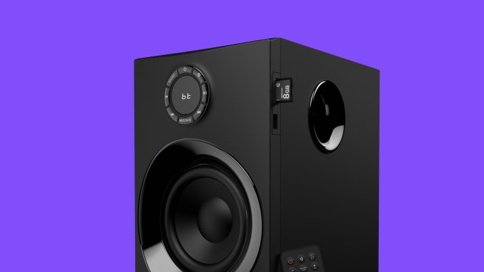 Subwoofer with SD card slot and side port