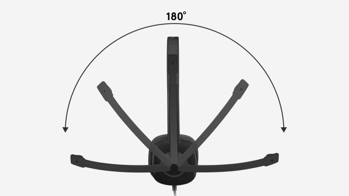 headset with 180 degree rotating microphone